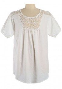 White Lace Embroidery Round Neck Loose Blouse