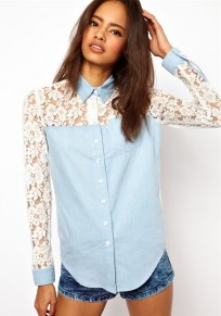 Sky Blue Patchwork Lace Turndown Collar Denim Blouse