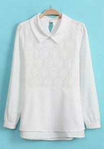 White Patchwork Lace Chiffon Blouse