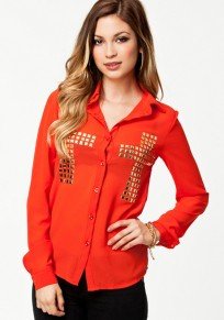 Orange Cross Single Breasted Sequin Blouse