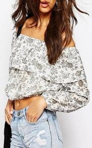 White Ruffle Rose Printed Pleated Boat Neck Off Shoulder Long Sleeve Sweet Cotton Blouse