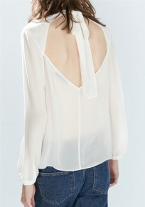 White Plain Tie Back Bow Cut Out Backless Sexy Blouse