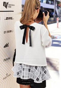 White Patchwork Bow Cut Out Grenadine Round Neck Sweet Chiffon Blouse