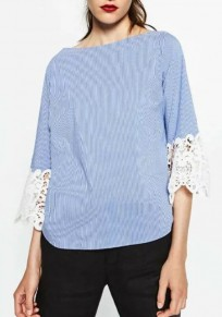 Blue Patchwork Lace Hollow-out Boat Neck Sweet Blouse