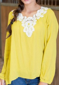Yellow Patchwork Lace Round Neck Long Sleeve Blouse