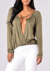 Army Green Cross Belt Plunging Neckline Long Sleeve Loose Sexy Casual Blouse