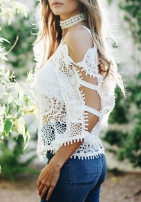 White Plain Beach Vacation Hollow-out Square Neck Fashion Blouse