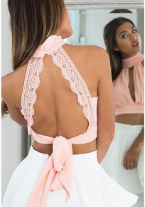 Pink Plain Cut Out High Neck Sexy Chiffon Blouse