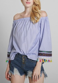 Blue Striped Tassel Embroidery Boat Neck Fashion Blouse