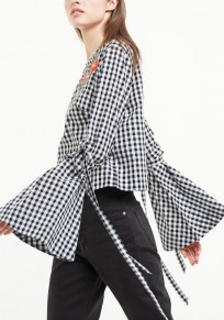 Black Plaid Embroidery Ribbons Round Neck Fashion Blouse
