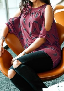 Wine Red Floral Cut Out Round Neck Short Sleeve T-Shirt
