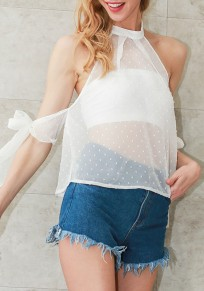 White Patchwork Grenadine Cut Out Open Back Halter Neck Lace-Up Blouse
