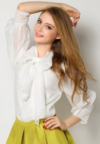 White Bow Round Neck Three Quarter Length Sleeve Casual Blouse