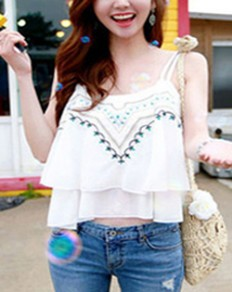 White Floral Spaghetti Strap Backless Embroidery Tiered Cute Blouse