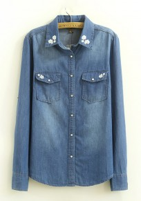 Dark Blue Flowers Embroidery Long Sleeve Denim Blouse
