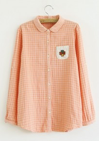 Pink Plaid Embroidery Round Neck Cotton Blend Blouse