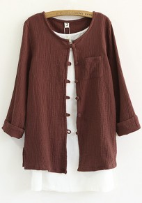 Date Red Plain Pockets Blouse