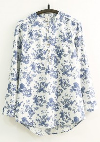 White-Blue Floral Single Breasted Blouse