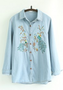 Blue Phoenix Embroidery Denim Blouse
