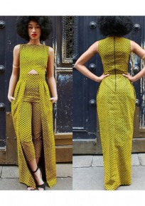 Yellow Geometric Cut Out Back Zipper Swallowtail Casual Long Jumpsuit With Overlay