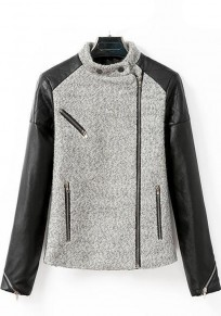Grey Patchwork PU Leather Wool Coat