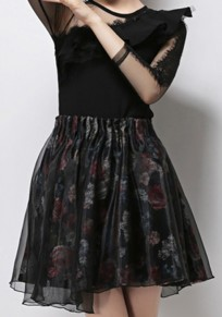 Black Floral Patchwork Grenadine Asymmetric Shoulder Ruffle Dress