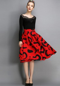 Red Floral Print Pleated Flared Vintage High Waisted Knee Length Retro Skirt