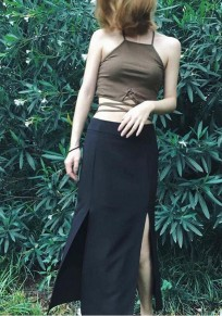 Black Plain slit Zipper Slim Fashion Chiffon Skirt