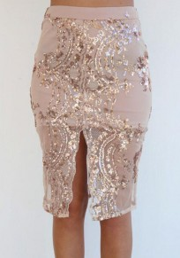 Golden Floral Beading Sequin Site Back Zipper Hip Bodycon Elegant Skirt