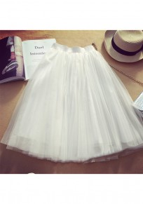 White Plain Tiered Knee Length Sweet Chiffon Skirt