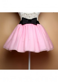 Pink Plain Grenadine Bow Belt Elastic Waist Fashion Skirt
