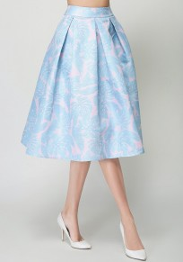 Sky Blue Floral Print Pleated Zipper High Waisted Flared Skirt