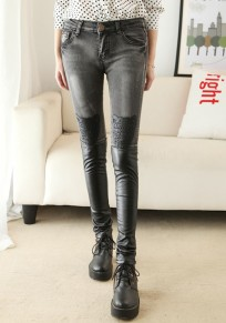 Grey Patchwork Pockets Buttons PU Leather Long Jeans