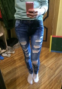 Blue Patchwork Pockets Buttons Cut Out Long Jeans
