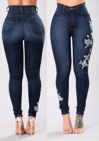 Denim Blue Embroidery High Waisted Slim Mom Push Up Female Stretch Jeans