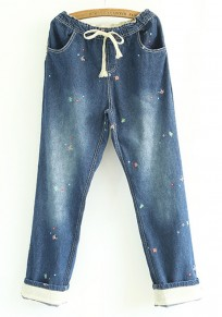 Blue Fish Embroidery Long Jeans