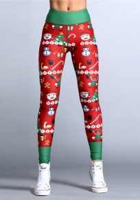 Red-Green Christmas Floral High Waisted Yoga Slim Sock Casual Sports Legging