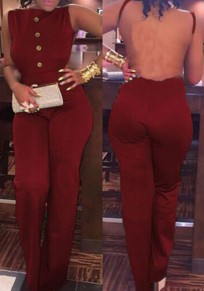 Wine Red Plain Cut Out Single Breasted Long Jumpsuit