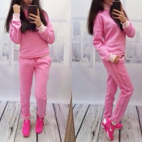 Pink Plain 2-in-1 Pockets Drawstring Waist Casual Long Jumpsuit