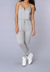 Grey Plain Condole Belt Single Breasted Drawstring Waist Long Jumpsuit