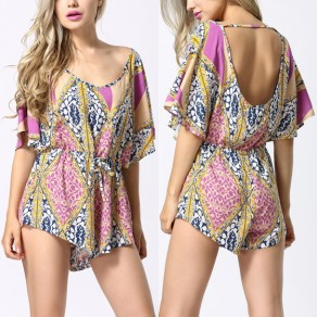 Pink Floral Cut Out Drawstring Pleated Sweet Short Jumpsuit