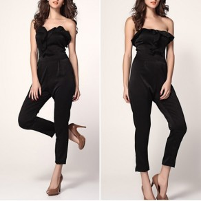 Black Plain Bandeau Ruffle Zipper Elegant Long Jumpsuit