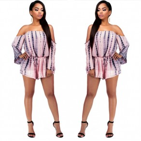 Pink Patchwork Cut Out Drawstring Drawstring Waist Mid-rise One Piece Cheap Short Jumpsuit