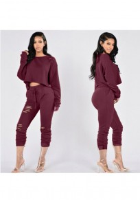 Date Red Plain Cut Out Drawstring Crop Pockets 2-in-1 Long Jumpsuit