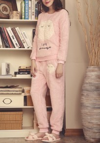 Pink Plain 2-in-1 Elastic Waist Casual Polyester Long Jumpsuit