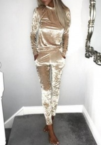 Champagne Plain 2-in-1 Drawstring Waist Fashion Long Jumpsuit