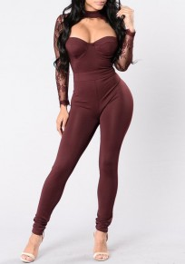 Burgundy Patchwork Lace Cut Out Hollow-out See-through High Waisted Sexy Long Jumpsuit