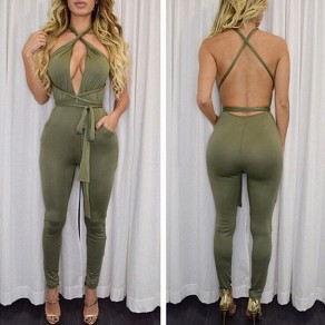 Army Green Plain Sashes Cut Out Halter Neck Multi Way Bandage Jumpsuit