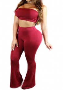 Burgundy Plain Bandeau Two Piece High Waisted Off-shoulder Sexy Club Long Jumpsuit