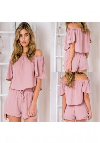 Pink Plain Drawstring Ruffle 2-in-1 Short Jumpsuit